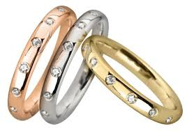 Examples of rose, white & yellow 14 kt gold rings