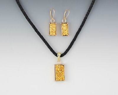 "My ""Gold Rush"" Natural Drusy (23kt gold plated drusy) suite in hand-made 14kt gold settings--Earrings $675/Pendant-Enhancer $495/handwoven black cord with GF adjustable chain $75. Email if interested as not on my website."
